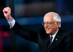 Bernie Sanders Smiling and Giving a Fist Pump