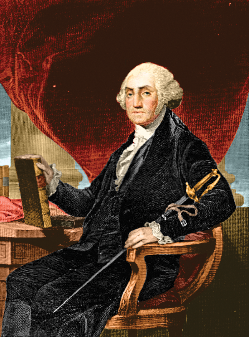 President George Washington sitting in a chair;