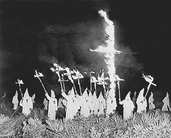 Ku Klux Klan cross burning;