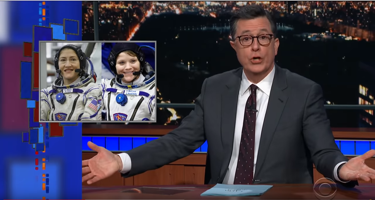 The Late Show with Stephen Colbert special segment MEANWHILE a picture of two female astromauts;