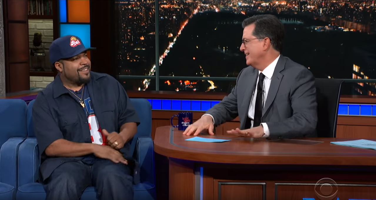 Stephen Colbert and guest Ice Cube on The Late Show with Stephen Colbert;