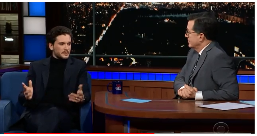 The Late Show with Stephen Colbert guests Game of Thrones star Kit Harington ;