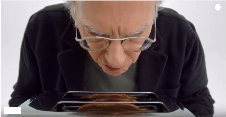 Larry David having problems working the toaster again