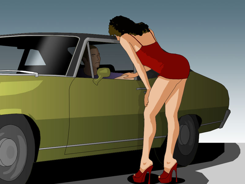 Prostitute leaning into a man's car;
