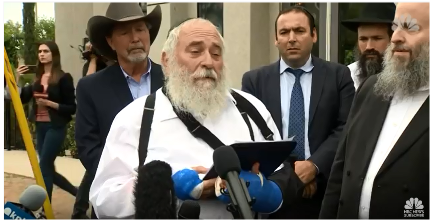 Rabbi Yisroel Goldstein Press Conference Outside of Chabad of Poway Synagogue in Poway, California;