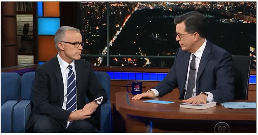 Stephen Colbert interviewing former acting FBI Director Andrew McCabe