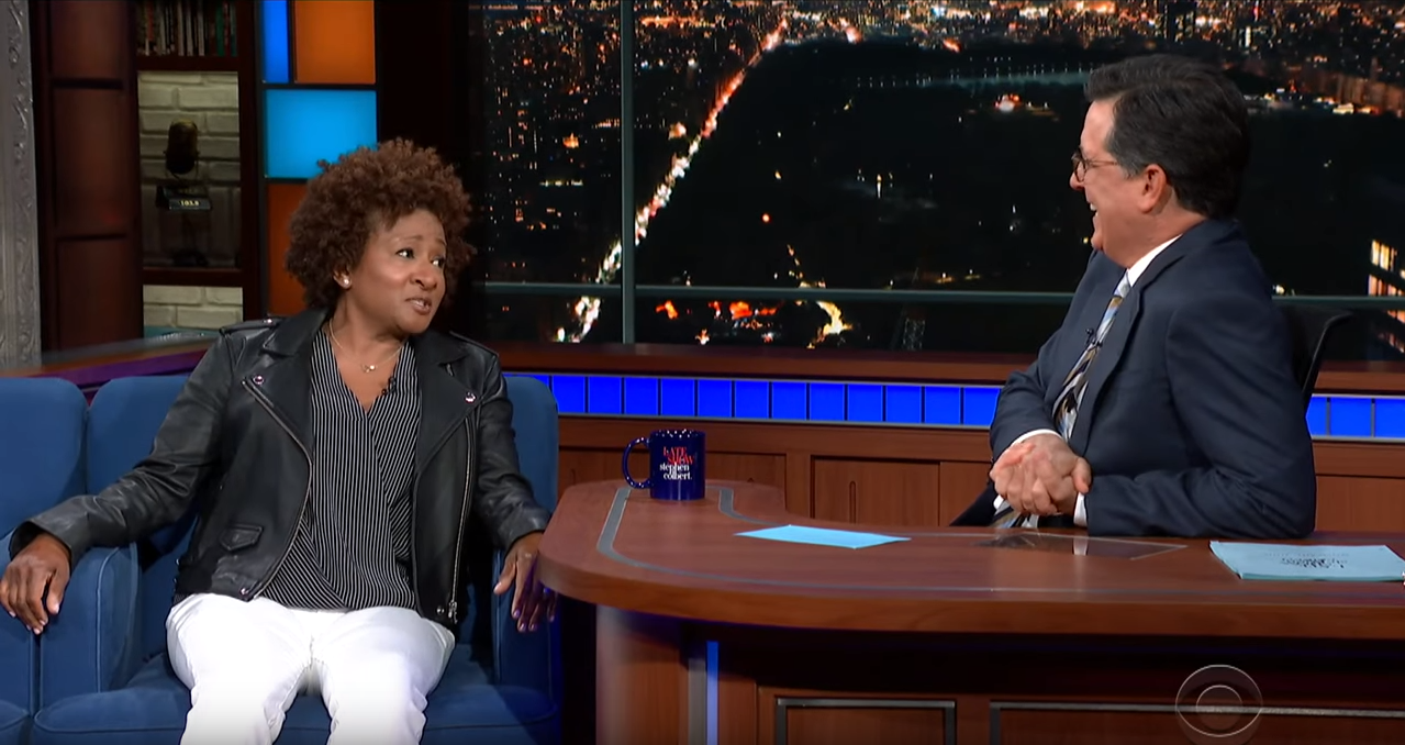 Stephen Colbert and guest Wanda Sykes on The Late Show with Stephen Colbert;