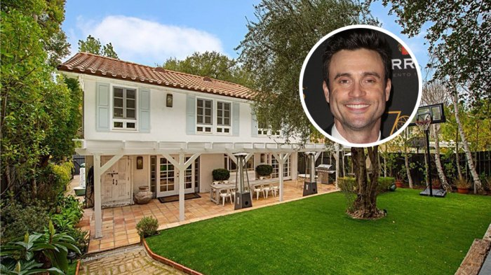 Young and the Restless Star Daniel Goodard's Calabasas home with a basketball goal sitting on evergreen colored grass;